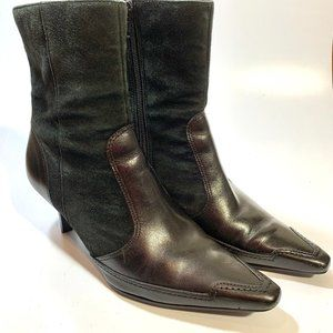 Audrey Brooke Leather & Suede-like Heeled Boot